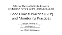 Good Clinical Practice (GCP) and Monitoring Practices