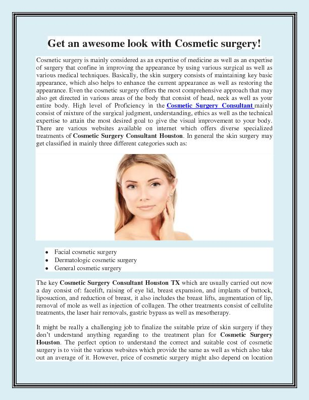 Get an awesome look with Cosmetic surgery