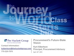 May 9 th , 2016 Procurement�s Value Proposition