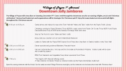 Downtown Jolly Jamboree The Village of Payne will come alive on Saturday, December 8