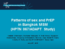 Patterns of sex  and PrEP