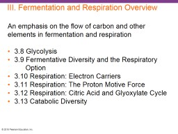 III. Fermentation and Respiration Overview