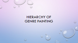 Hierarchy of  Genre Painting