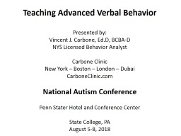 Teaching Advanced Verbal Behavior