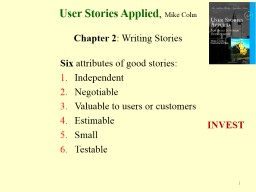 User Stories Applied ,  Mike Cohn PowerPoint PPT Presentation