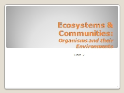 Ecosystems & Communities: