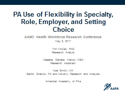 PA  Use of  Flexibility in Specialty, Role, Employer, and Setting PowerPoint PPT Presentation