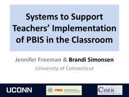 Systems to Support  Teachers' Implementation