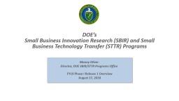 DOE�s  Small Business Innovation Research (SBIR) and Small Business Technology