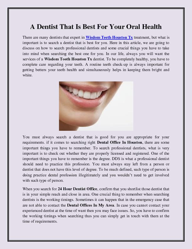 A Dentist That Is Best For Your Oral Health