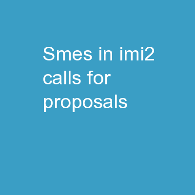 SMEs in IMI2 Calls for Proposals
