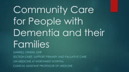 Community Care for People with Dementia and their Families