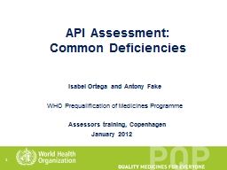 1 API Assessment: Common Deficiencies PowerPoint PPT Presentation