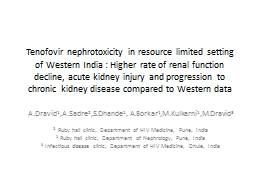 Tenofovir nephrotoxicity in resource limited setting of Western India : Higher rate of renal functi