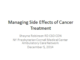 Managing Side Effects of Cancer Treatment