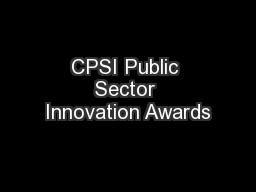 CPSI Public Sector Innovation Awards