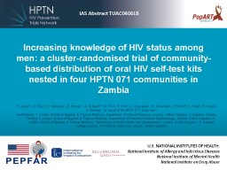 Increasing knowledge of HIV status among men: a cluster-randomised trial of community-based distrib PowerPoint PPT Presentation
