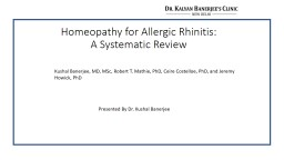 Homeopathy for Allergic Rhinitis: