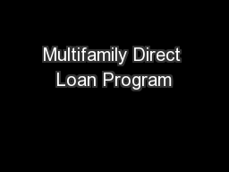 Multifamily Direct Loan Program