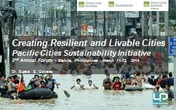Creating Resilient and Livable Cities