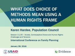 What Does Choice of Methods Mean Using a Human Rights Frame