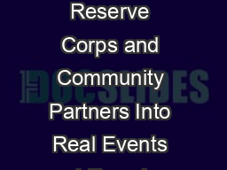 Integrating Medical Reserve Corps and Community Partners Into Real Events and Exercises