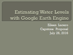 Estimating Water Levels with Google Earth Engine