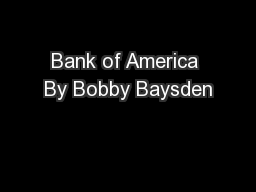 Bank of America By Bobby Baysden