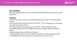 KEY ENQUIRY Can the thinking behind a circular economy break the tyranny of 'scale and sale'?
