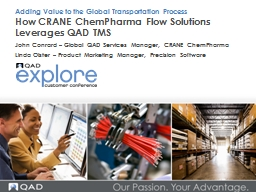 How CRANE  ChemPharma  Flow Solutions Leverages QAD TMS
