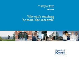 Why can't teaching be more like research?