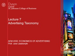 Lecture  9 Media Planning and TV ad costs
