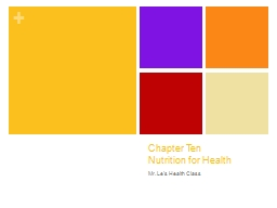 Chapter Ten  Nutrition for Health