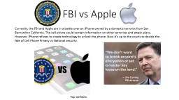 FBI vs Apple Currently, the FBI and Apple are in a battle over an iPhone owned by a domestic terror