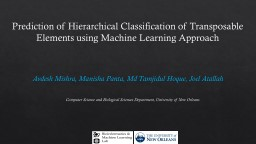 Prediction of Hierarchical Classification of Transposable Elements using Machine Learning Approach