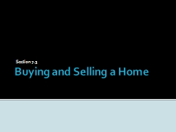 Buying and Selling a Home