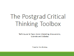 The Postgrad Critical Thinking Toolbox