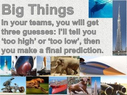 Big  Things In  your teams, you