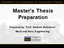 Master's Thesis Preparation