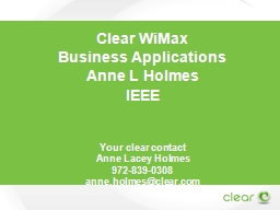Clear  WiMax   Business Applications