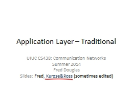 Application Layer � Traditional