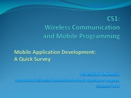 CS1: Wireless  Communication and Mobile