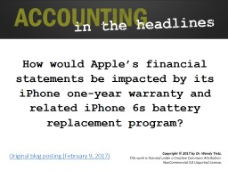 How would Apple's financial statements be impacted by its iPhone one-year warranty and related iP