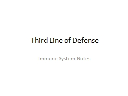 Third Line of Defense Immune System Notes