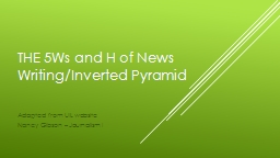 The 5W s and H of News Writing/Inverted Pyramid