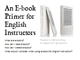 An E-book Primer for English