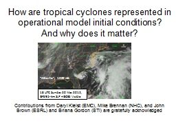 How are tropical cyclones represented in operational model initial conditions?