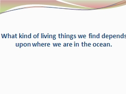 What kind of living things we find depends upon where we are in the ocean.