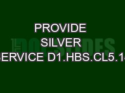 PROVIDE SILVER SERVICE D1.HBS.CL5.14 PowerPoint PPT Presentation