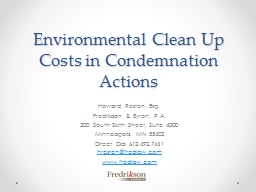 Environmental Clean Up Costs in Condemnation Actions